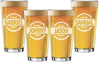 Set of 4, Set of 6 and more Custom Engraved Groomsmen 16 oz Pint Beer Glasses - Bottle Cap Style (4)