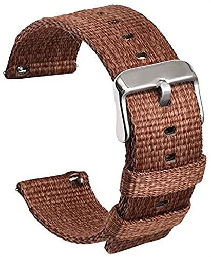 chenghuax Correa de reloj inteligente de nailon para correa de lona tejida deportiva, correas de liberación rápida (color: 24 mm, tamaño: marrón)