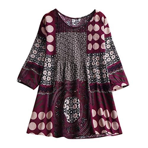 iHENGH Women Boho Plus Size Loose Linen Hippie Swing Long Tops Shirt Blouse(Rot, L)