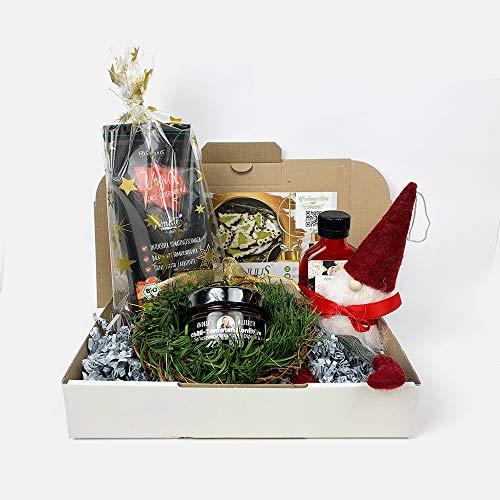 """Feinkost Weihnachts Geschenk Set """"Feinschmecker"""" mit 3 Bio Gourmet Produkten (Bio Gemüsepulver, Chilli-Tomaten Konfitüre, Rosenblütensirup) inkl. Rezeptheft und Weihnachtsdeko für Mann und Frau"""