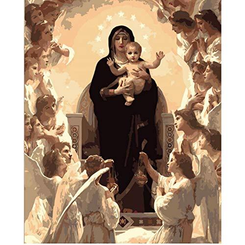 Waofe Virgen María Figura Pintura Digital De Diy Por Números En La Lona, Pintura Moderno Arte De La Pared De Lona Pintura Navidad Regalo Casa Decor-With Frame