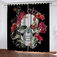 遮光カーテンリビングルーム寝室カーテンデコレーション - 赤い花の頭蓋骨アート 280 X 260 CM(幅 x 高さ)