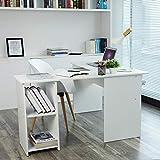 VASAGLE Escritorio de la Computadora Blanco Ordenador en Forma de L, Mesa esquinera para Casa Oficina, con 2 Estantes de Almacenaje,140 x 120 x 75 cm LCD810W