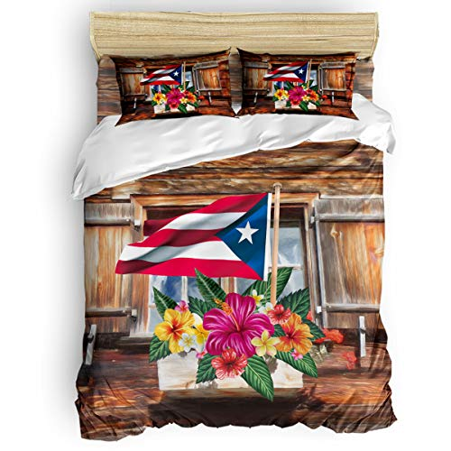 Big buy store Farm Barn Flower 4 Piece Duvet Cover Set Puerto Rico Flag Bed Sheets Quilt Cover for Kids/Adults Bedroom Decoration Full Size