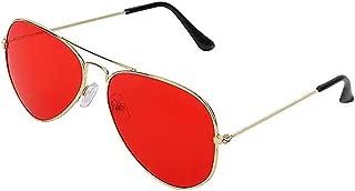 GreatDio Red Aviator Metal Body Frame Sunglasses for Men Women (Red)