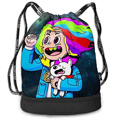asdew987 6ix9ine Drawstring Backpack String Bag Sackpack Cinch for Gym Shopping Sport Yoga