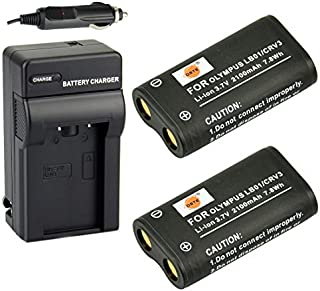 DSTE Replacement for 2X CR-V3 Battery + DC78 Travel and Car Charger Adapter Compatible Olympus C3000 40Z C-2100UZ C-211 C-211Z C-3030 C-3030Z C-4000 C-5050Z D510 Camera as LB01 CRV3 LB-01