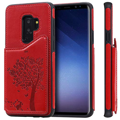 S10 Samsung Galaxy,TACOO Leather Card Cash Slot Protective Red Cover Durable Shell Kickstand Soft Unisex Boy Girl ID Window Men Women