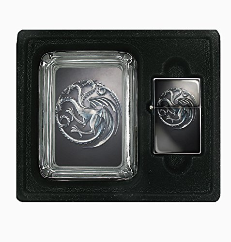 Game of Thrones 1 Square Glass AshTray and Oil Lighter Set