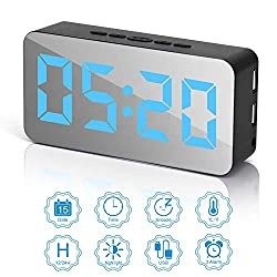 Digital Alarm Clock, LED Adjustable Brightness Voice Control Mirror Effect 115 Species Color Dimmer Light Desk Alarm Clock with Date Temperature Detection USB/Battery for Bedroom Office(Black)