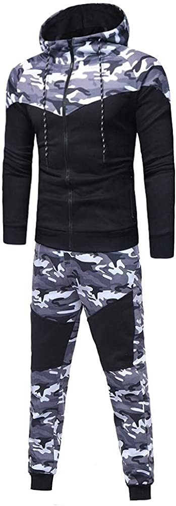 Aayomet Tracksuit Zip up Camouflage Casual Hoodie Sweatshirt Pants Two Piece Sweatsuits Sports Outfits for Men