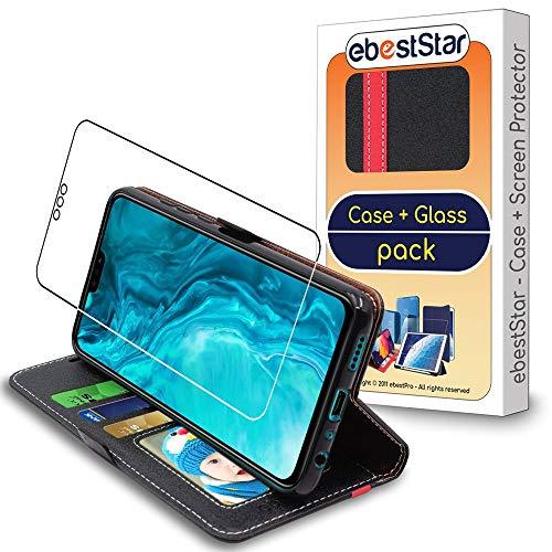ebestStar - Coque Compatible avec Honor 9X Lite Etui Portefeuille Housse PU Cuir Porte-Cartes, Noir/Rouge + Film Verre Trempé [NB: Lire Description] [9X Lite: 160.4 x 76.6 x 7.8 mm, 6.5]