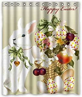 KXMDXA Happy Easter Rabbit And Eggs Waterproof Polyester Shower Curtain 60x72 Inch Bathroom Decor