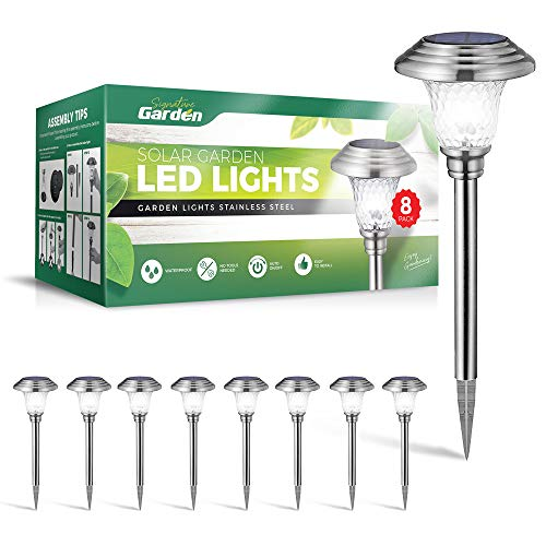 Signature Garden 8 Pack Solar Garden Lights - Super-Bright 15 Lumens; Makes Garden Pathways & Flower Beds Look Great - Easy NO-Wire Install; All-Weather/Water-Resistant (Stainless Steel, Silver)