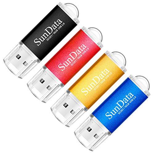 SunData 4 Pezzi 16GB Chiavetta USB Pen Drive 16GB Metallo USB2.0 Unità Memoria Flash Thumb Drive per Archiviazione Dati con Luce LED (4 colori: Nero Blu Rosso Oro)
