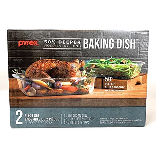 PYREX Set 4 Pc 2 Glass Baking Dish 3' Depth With 2 Lids 5 Qt 3.1 Qt.