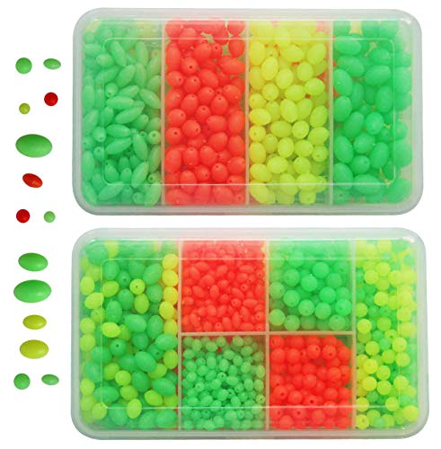 JSHANMEI Fishing Bead 1000Pcs/box Soft Plastic Luminous Oval Shaped Beads Round Beads Fishing Lures Fishing Bead Fishing Tackle Tools Eggs for Rig
