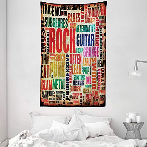 ABAKUHAUS Retro Wandteppich und Tagesdecke, Musik Rock'n'Roll Poster aus Weiches Mikrofaser Stoff Kein Verblassen Klare Farben Waschbar, 140 x 230 cm, Mehrfarbig