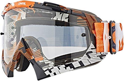 O'NEAL | Fahrrad-Brille Motocross-Brille | MX MTB DH FR Downhill Freeride | Hochwertige 1,2 mm-3D-Linse für ultimative Klarheit, UV-Schutz | B-10 Goggle | Erwachsene Unisex | Schwarz Neon | One Size