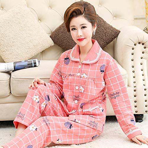 DFDLNL Conjunto de Pijama Laminado Acolchado Fino para Mujer, Estampado a Cuadros de algodn Completo, Ropa de Dormir para Mujer, Regalo de Invierno para saln en casa L.