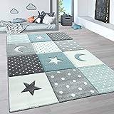 Paco Home Alfombra Infantil, Alfombra Pastel Habitación Infantil con Nubes 3D Y Motivos De Estrellas, tamaño:80x150 cm, Color:Azul