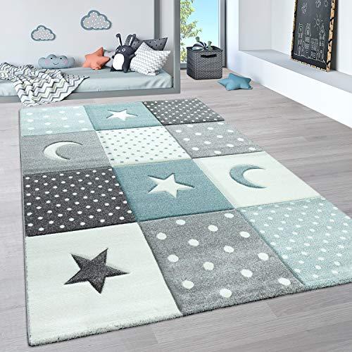 Paco Home Alfombra Infantil, Alfombra Pastel Habitación Infantil con Nubes 3D Y Motivos De Estrellas, tamaño:140x200 cm, Color:Azul