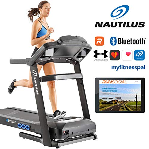 Nautilus SoftDrop Klappsystem mit Transportrollen Laufband T626, 20km/h Spitzengeschwindigkeit, RunSocial App kompatibel über Bluetooth für Smartphone und Tablet