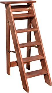 Brown Solid Wood Household Ladder Thickening Wooden Step Ladder One Side Stairway Chair Folding 4/5/6 Steps Indoor Loft Mo...