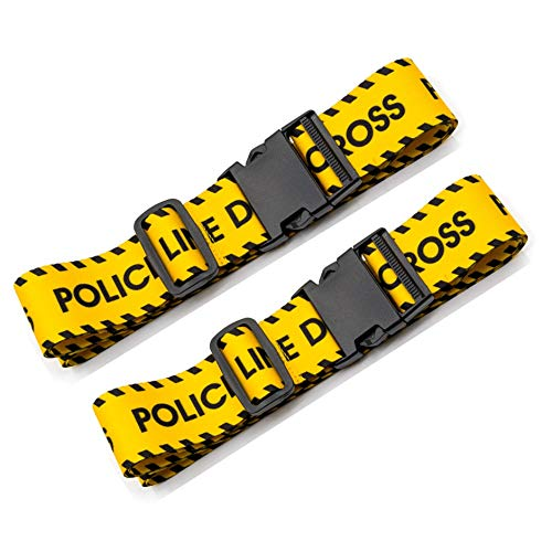 Teeoff Luggage Straps Suitcase Belts Travel Bag Accessories Adjustable 220CM (Yellow Letter - 2 Pack)