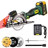 POPOMAN 20V Max 4-1/2' Cordless Circular Saw, 4.0Ah Battery,4,500RPM Compact Circular Saw with Laser, Fast Charger, 3 Blades for Wood, Plastic, Soft Metal and Tile Cuts - MTW510B
