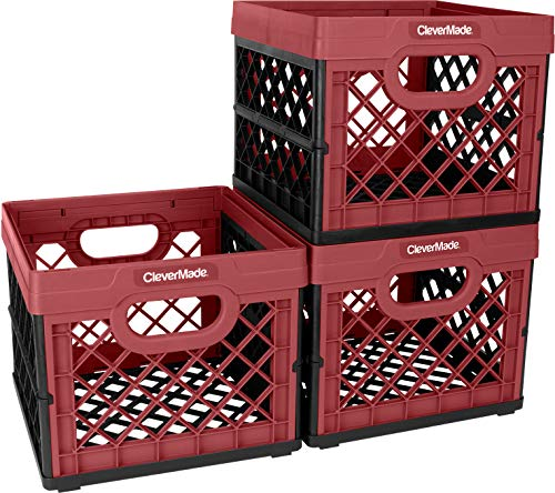 CleverMade Collapsible Milk Crate - Stackable Collapsible Storage Bins/Containers/Utility Totes, 25 Liters, Red, 3 Pack