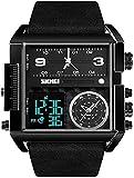 JDHFKS Montre Sport numérique for Hommes, LED Larges Visage analogique Bracelet à Quartz avec la Zone Multi-Chronomètre étanche Militaire Wristwatch analogique, 2Pcs (Color : B)