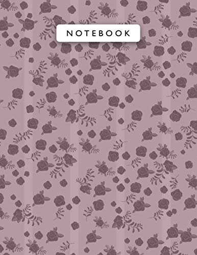 Notebook Raspberry Glace Color Mini Vintage Rose Flowers Lines Patterns Cover Lined Journal: 21.59 x 27.94 cm, Planning, 8.5 x 11 inch, Monthly, Work List, College, 110 Pages, A4, Journal, Wedding