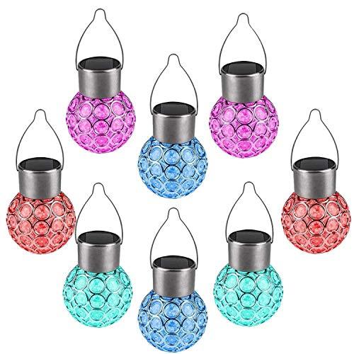 8 Stück Hängende Solar-Lichter,Solarbetriebene Kugelförmige Leuchten für Außenbereich, Garten, LED-Leuchten zum Aufhängen, Wasserdichte Nachtlichter für Gartenwege, Hof - Farbe