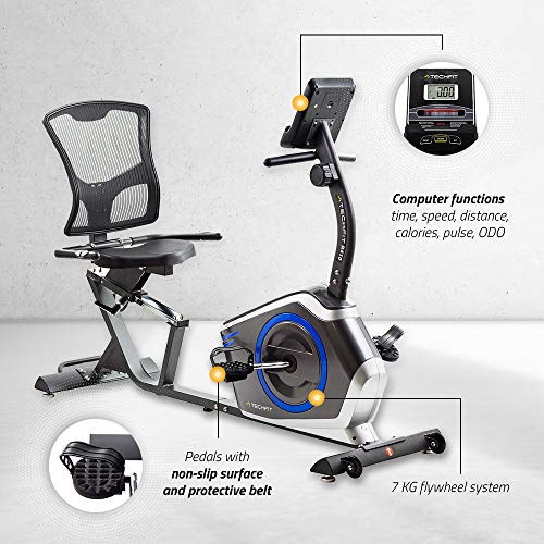TechFit R410 Recumbent Exercise Bike, Ideal Recovery Workout at Home, Adjustable Seat, Pulse Sensors LCD Monitor