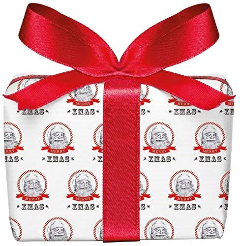 5er-Set Weihnachts Geschenkpapier Bögen WEIHNACHTSMANN/NIKOLAUS in ROT WEIß zu Weihnachten & Adventszeit • Weihnachtspapier für Weihnachtsgeschenke, Adventskalender u.v.m. (Format : 50 x 70 cm)