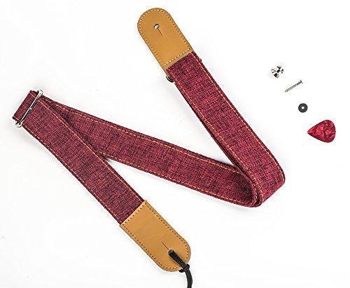 ZEALUX Ukulele Strap Comfortable Cotton Linen & Leather Adjustable Uke Shoulder Strap Suit For All Ukulele & Little Gruitar (Cotton Red)