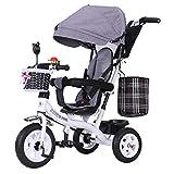 YINGH - Tricycle pour enfants, Siège et putter réglables, Repose-pieds rabattable, Auvent à protection UV, Roue en...