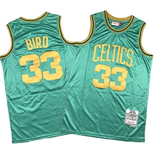 EARAID Pájaro de Baloncesto para Hombre Jersey, Boston 33# Celtics Swingman Jersey, Chaleco de Baloncesto Uniforme, Ventiladores de Bordado Jersey, Fibra 100% Poliéster S