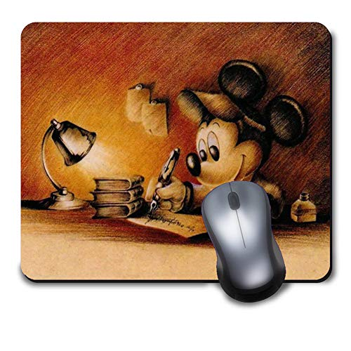 Classic Cute Character Vintage Design The Color of The Ancient Books Yellow Unique Disney Mickey Mouse Design Mouse Pad,Computer Gaming Mousepad for Laptop Desktop Notebook