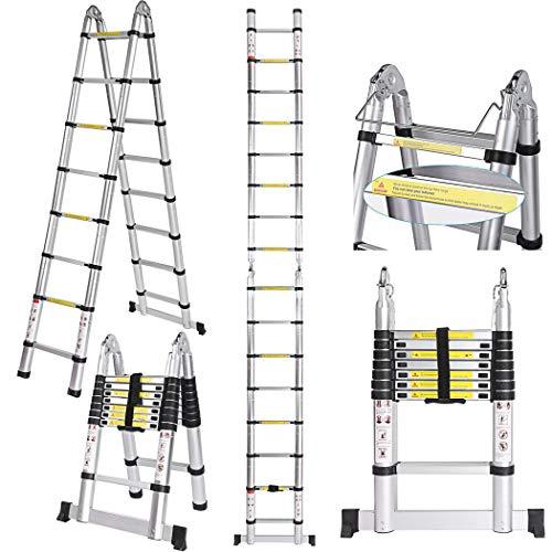 Scala telescopica in lega di alluminio, telaio di estensione telescopico multifunzione per scala pieghevole da 5 M, scala a 16 gradini con barra di bilanciamento [carico 150 kg]