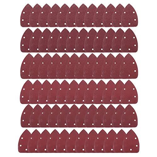 ミニデルタサンダー サンドペーパー サンディングディスク 電動サンダー用ペーパー サンディングパット 紙やすり マジック式 三角形 DIY 木工用 研磨 5穴 140mm 72枚 #40#60#80#120#180#240