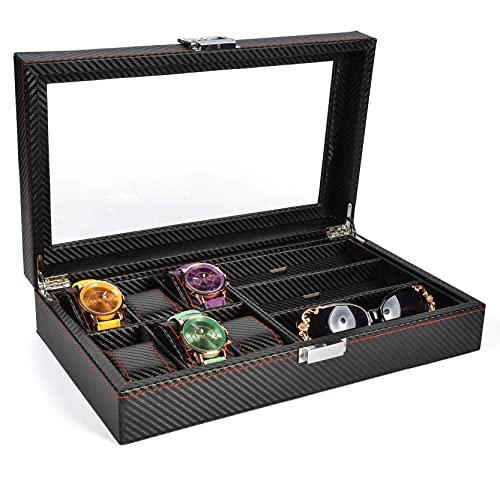 Estuche de Almacenamiento para Relojes, Reloj EyeGlasses Mostrar caja 6 Slot Watch Organizer + 3 Grids Gafas Caja de almacenamiento Brailable Gafas Pulsera Pulsera Sostenedor Elegante Soporte de Exhib