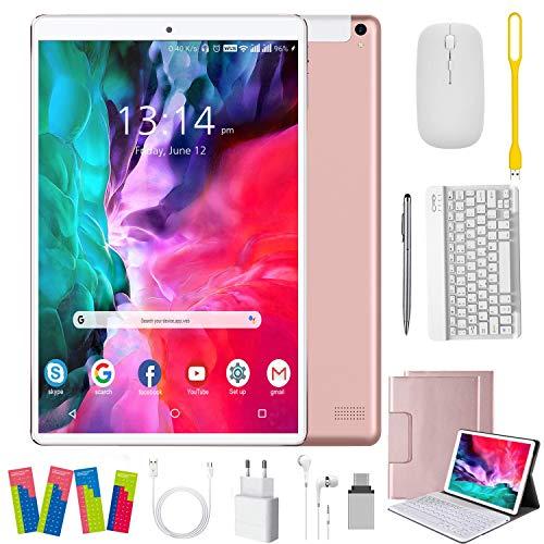 Tablet 10 Zoll Android, 64GB rom/4GB ram Quad Core 4G Tablet mit Deutsche Tastaturaufkleber Stift Tastatur, Type C, 5MP+8MP Kamera, 8000mAh Akku WiFi 4G Dual-SIM/SD Bluetooth Android 9.0 Tablet PC