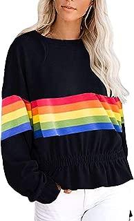Ultramall Womens Pullover Long Sleeve t Shir Tops Rain Print Striped Sweatshirt Ruffles Hem Blouse