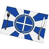 Alvahw Atractivos manteles Individuales de Bandera Griega Antigua para Mesa de Comedor Juego de 6 tapetes de Mesa de Cocina 12 x 18 Pulgadas