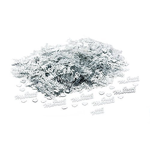 Whitelotous 1500pcs JUST MARRIED Confetti Heart Tissue Paper Wedding Confetti Table Decoration Scatter Sprinkles