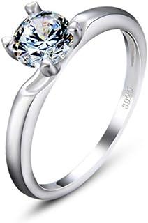 lem Abrillantador de anillosPlata de Ley 925 Brillante Promesa Redonda para Siempre la eternidad Anillos de Boda de Compro...