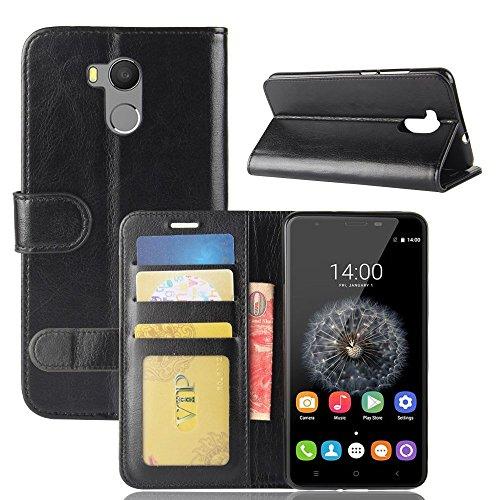 pinlu® Funda para Oukitel U15 Pro Moda Negocios Flip Phone Case Magnética Billetera de Cuero PU con Ranura para Tarjeta y Soporte Función Negro