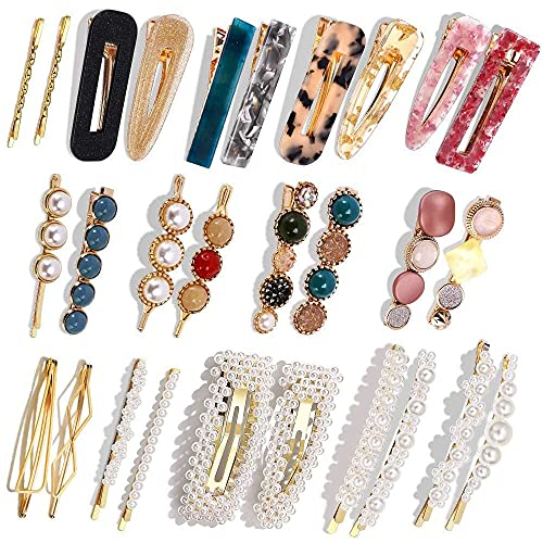 Pearls Hair Clips,28 Pcs Pearls Hair Barrettes Acrylic Resin Sweet Handmade bobby pins Hairpin Headwear Hair Accessories Headwear for Women and Girls